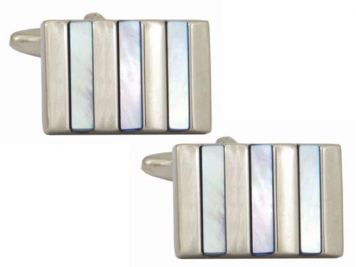 Mother of pearl rectangle silver plated cufflinks